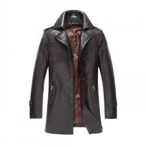 Leather Men Long Coat